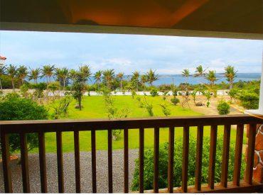 鄉村風的莊園民宿有大片庭園  在半山腰視野極佳 從陽台上眺望搖曳椰子樹與海景  景色相當悠閒